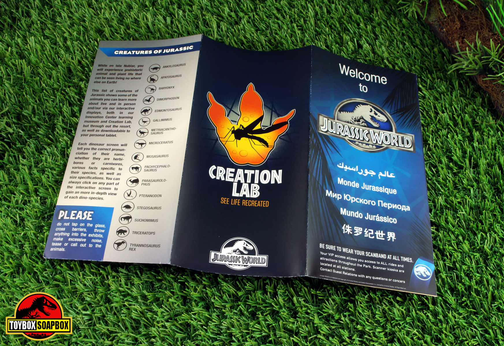 jurassic world park map leaflet