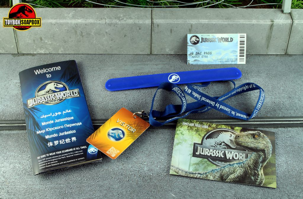 jurassic world welcome kit ticket snap band box set
