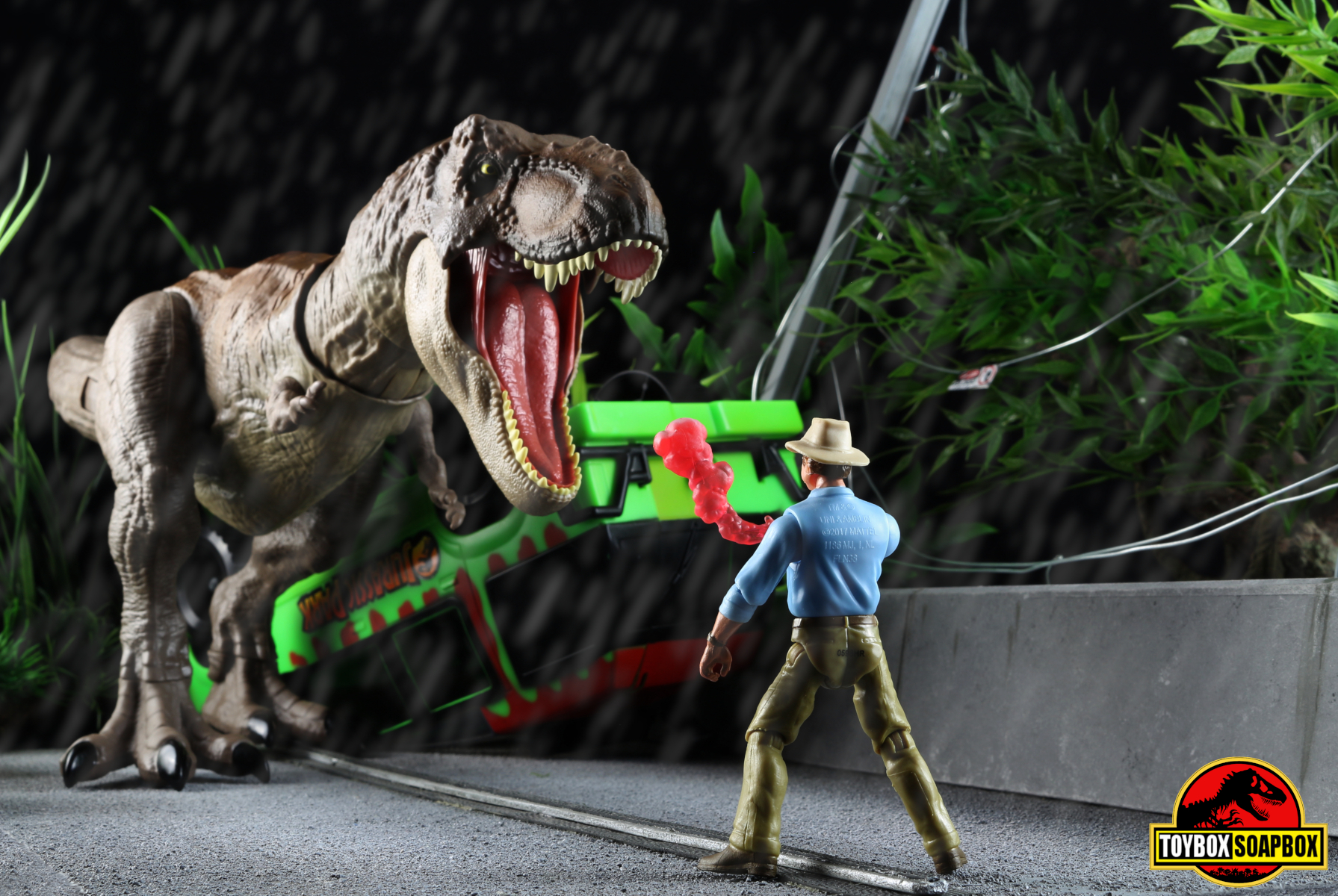 jurassic world tyrannosaurus rex bite and fight